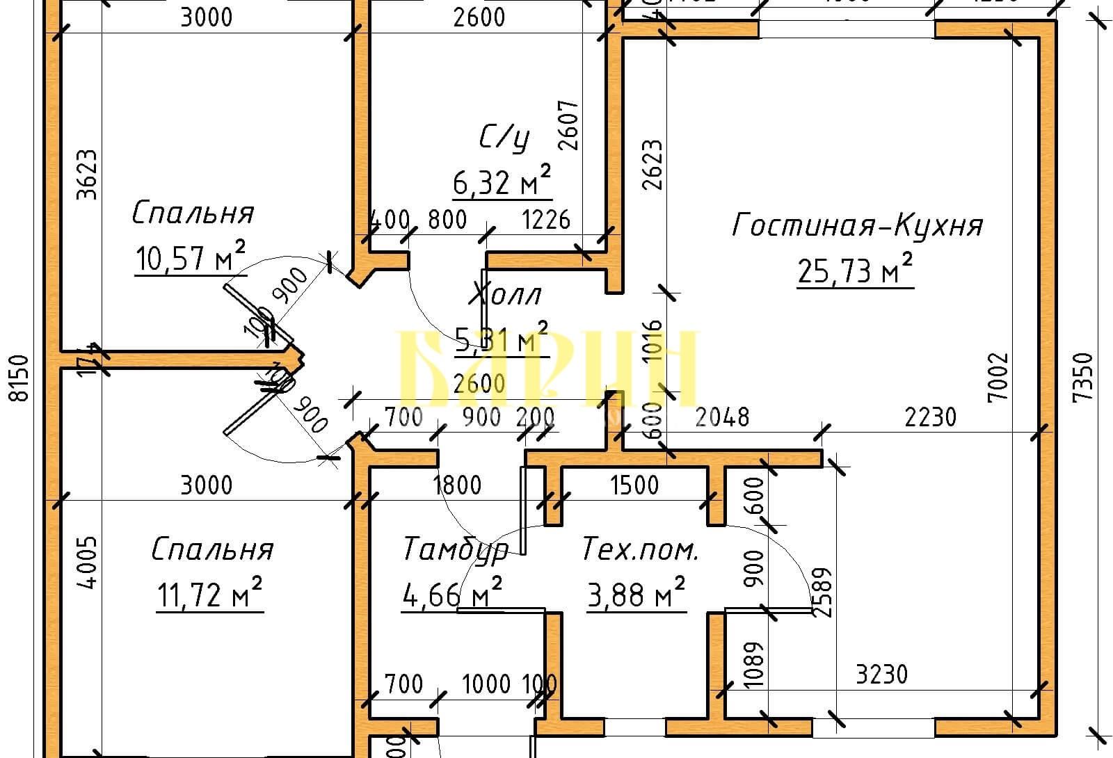 Проект дома барин 81 1 этаж
